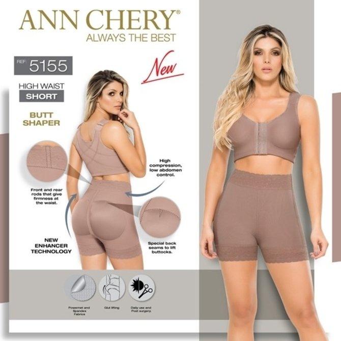 Ann Chery Ann Chery - Hohe Taille Kurz - Korrektur von der Taille bis zu den Beinen mit erneutem Hintern Push Up Technologie - Modell 5155 - Farbe Kakao