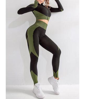 Tenue de fitness - Remonte Fesses Leggings + Veste 'Cropped'