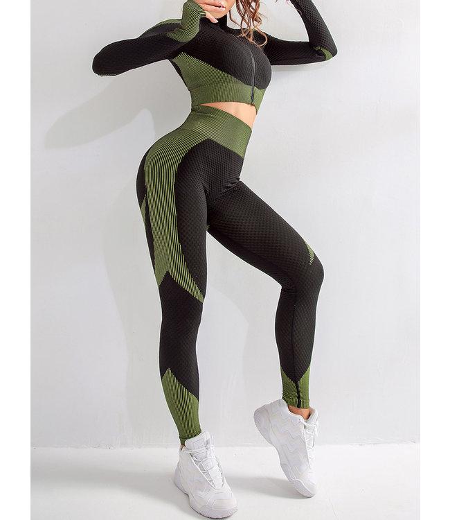 Trendy Fitness - High Waist Yoga Outfit mit Pushup effekt und Cropped Jacke