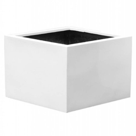 Fiberstone Jumbo Middle High Glossy White - Stijlvolle hoogglans bloembak in wit!