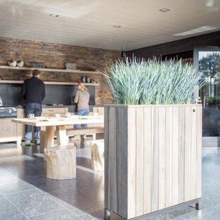 Fleurs Ami Kayu Divider plantenbak van teak voor op uw kantoor, huis of tuin