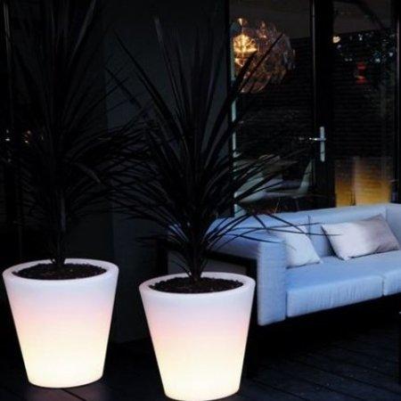 Elho Elho Pure Straight Led Light - Transperant blanc diam 60cm H80cm. Pot de fleurs illuminé unique pour l'intérieur et l'extérieur!