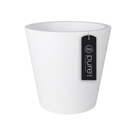 Elho Pure Straight Round - Un élégant pot de fleurs rond blanc de 35cm H34cm! - 15% de réduction sur la commande en ligne!