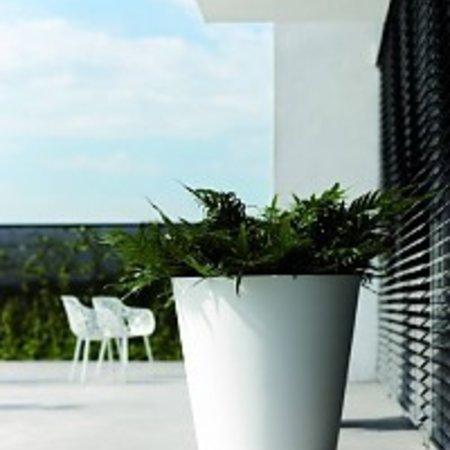 Elho Elho Pure Straight Round - Un élégant pot de fleurs rond blanc diam 50cm H51cm! - 15% de réduction sur la commande en ligne!