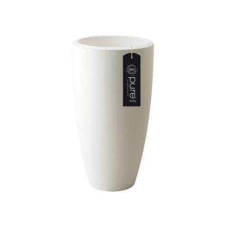 Elho Elho Pure Soft Round High - Witte hoge ronde bloempot diam 30cm H53cm. -15% online korting!