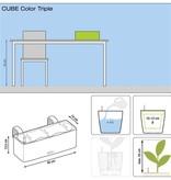 Lechuza Lechuza Cube  Color Triple. Witte rechthoekige bloembak 14 x 40cm H14cm.  - 15 % online korting!