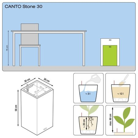 Lechuza Canto Stone High 30 Steengrijze Hoge vierkante bloembak 30 x 30cm H56cm! -15% online korting - Copy