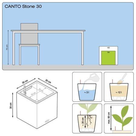 Lechuza Lechuza Canto stone Low 30. Steengrijze vierkante bloembak 30 x 30cm H30cm. - 15% online korting