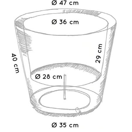 Otium Design Otium Design Olla 40. Pot de fleurs rond noir diam 47cm H40cm. Commandez en ligne ici!