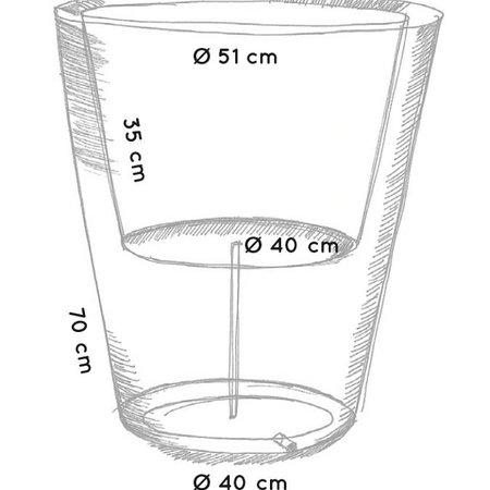 Otium Design Otium Design Olla 70. Pot de fleurs rond gris Diam 60cm H70cm. Commandez en ligne ici!