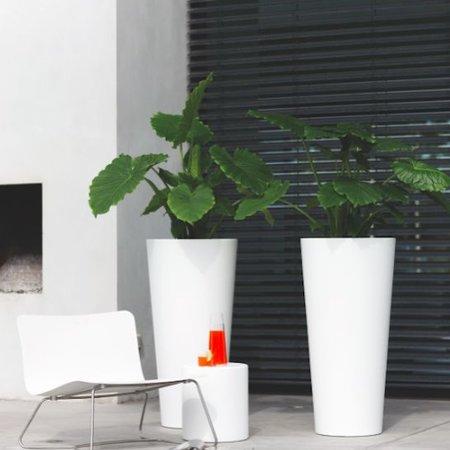 Elho Elho Pure Straight Round High. Witte Hoge ronde bloempot diam 40cm H80cm. -15% online bestellen!