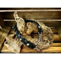 Fettleder-Halsband mit Durchzugskette