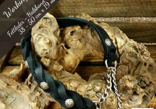Working Dogs Fettleder-Halsband mit Durchzugskette