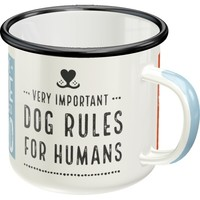 RETRO-EMAILLE-BECHER: Dog Rules