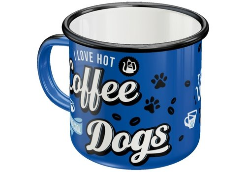 RETRO-EMAILLE-BECHER: HOT COFFEE - COOL DOGS
