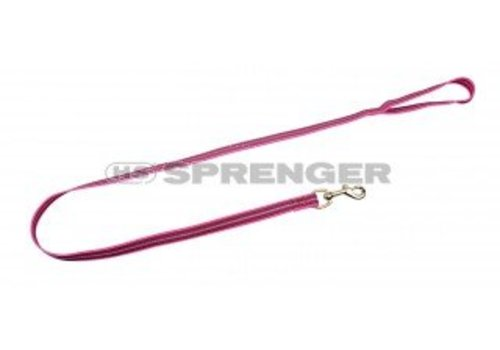 HS Sprenger Hundesportleine pink - gummiert mit Handschlaufe 120 cm reflektierend