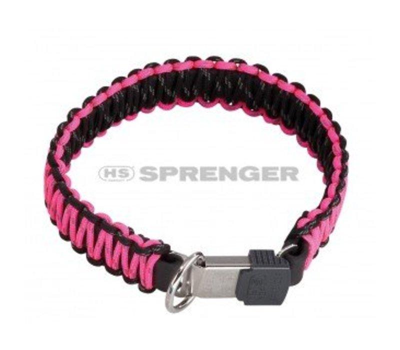 PARACORD Halsband schwarz/pink - REFLEKTIEREND