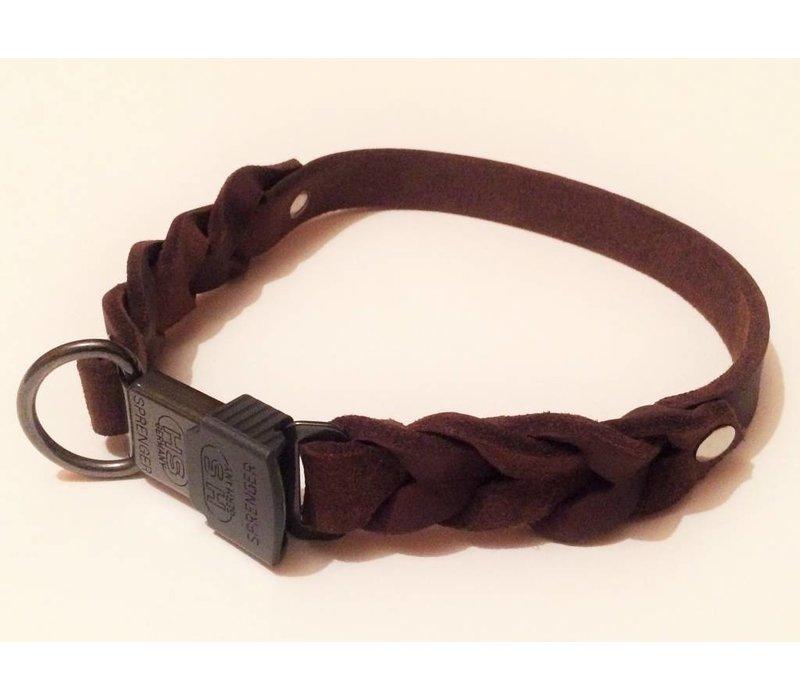 Fettleder Hundehalsband teilweise geflochten mit Cliclock-Verschluss - braun 19 mm