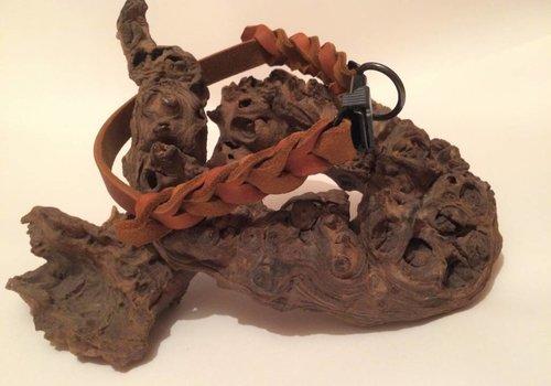 Working Dogs Fettleder Hundehalsband teilweise geflochten mit Cliclock-Verschluss - cognac