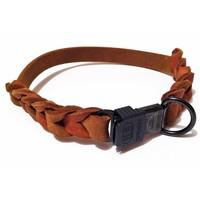 Fettleder Hundehalsband teilweise geflochten mit Cliclock-Verschluss - cognac 19 mm