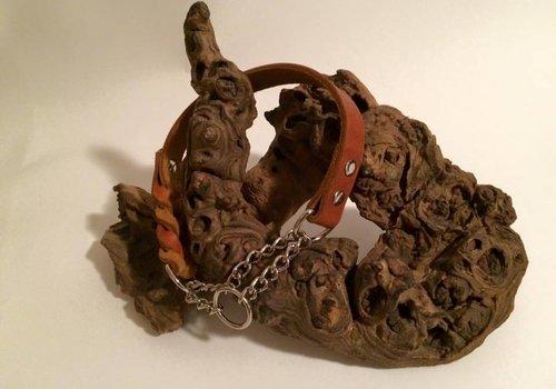 Working Dogs Fettleder Hundehalsband asymmetrisch geflochten mit Durchzugskette - cognac