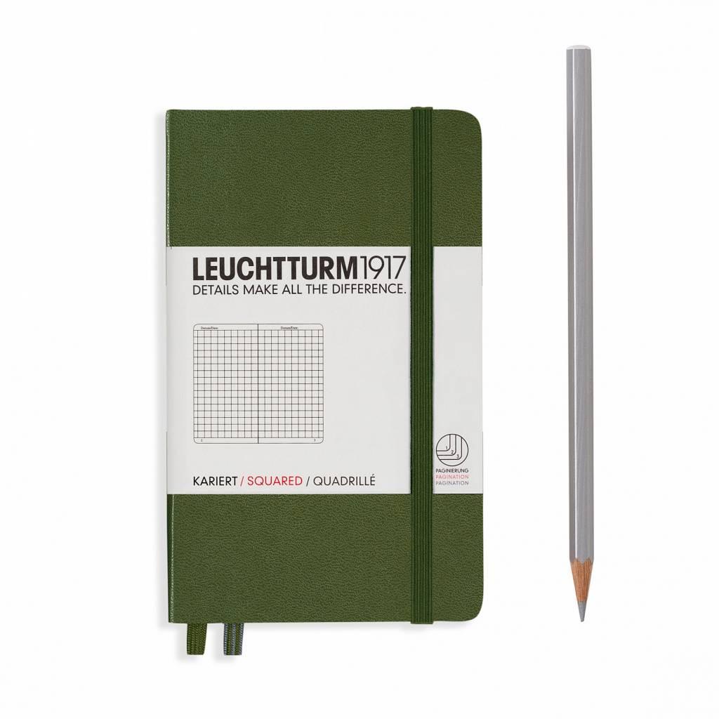 Leuchtturm Albenverlag LT Notizbuch A6 POCKET HC army, kariert