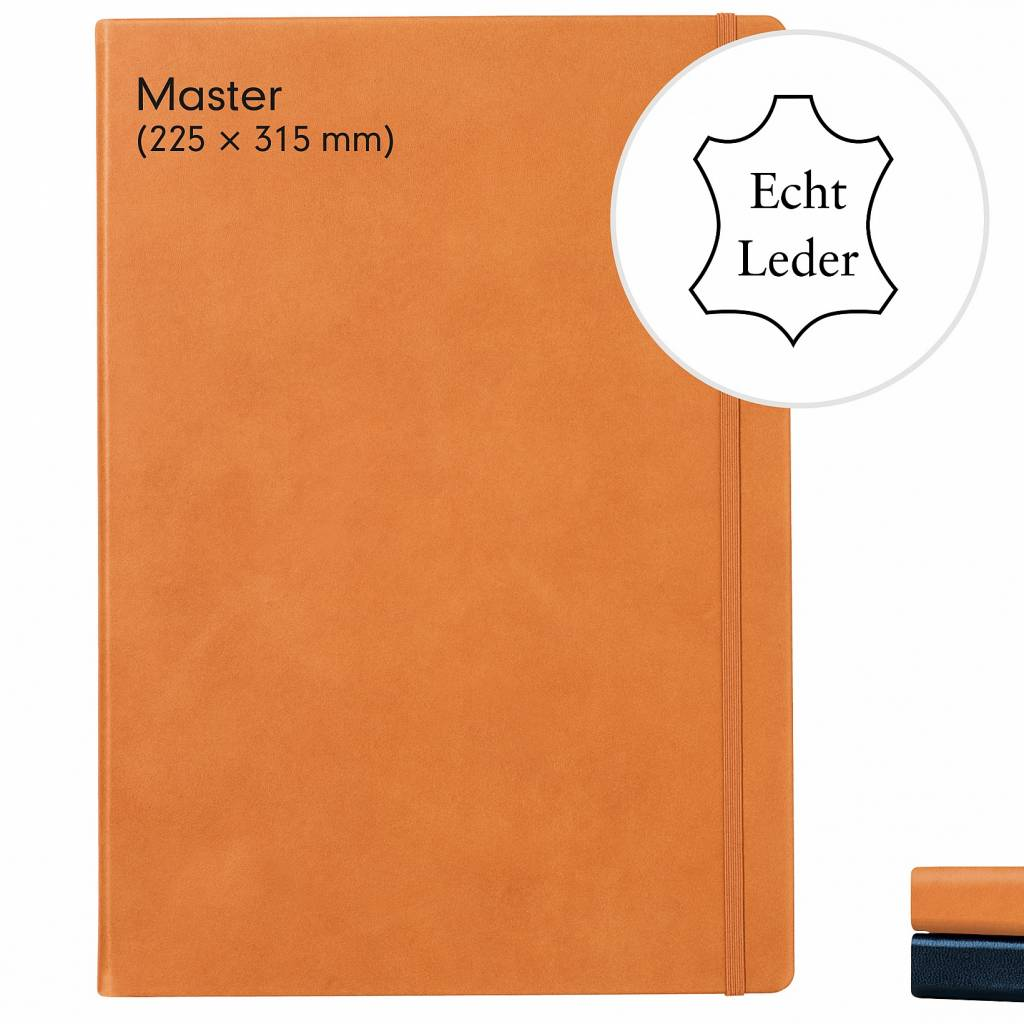 Leuchtturm Albenverlag LT Notizbuch A4 MASTER LEDER schwarz punktkariert