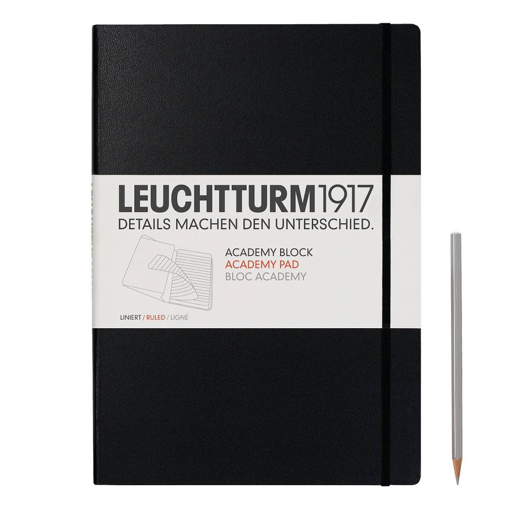 Leuchtturm Albenverlag LT Academy-Block A4 Hardcover schwarz, liniert
