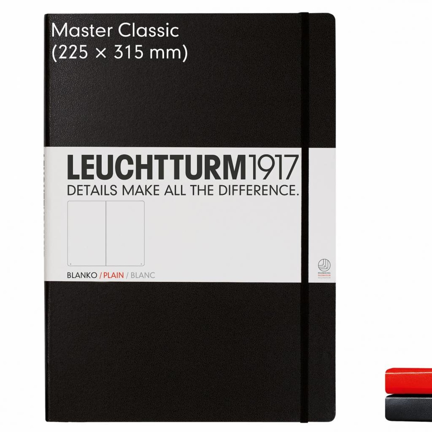Leuchtturm1917 Leuchtturm1917 Notizbuch, Master Classic, Schwarz, Kariert