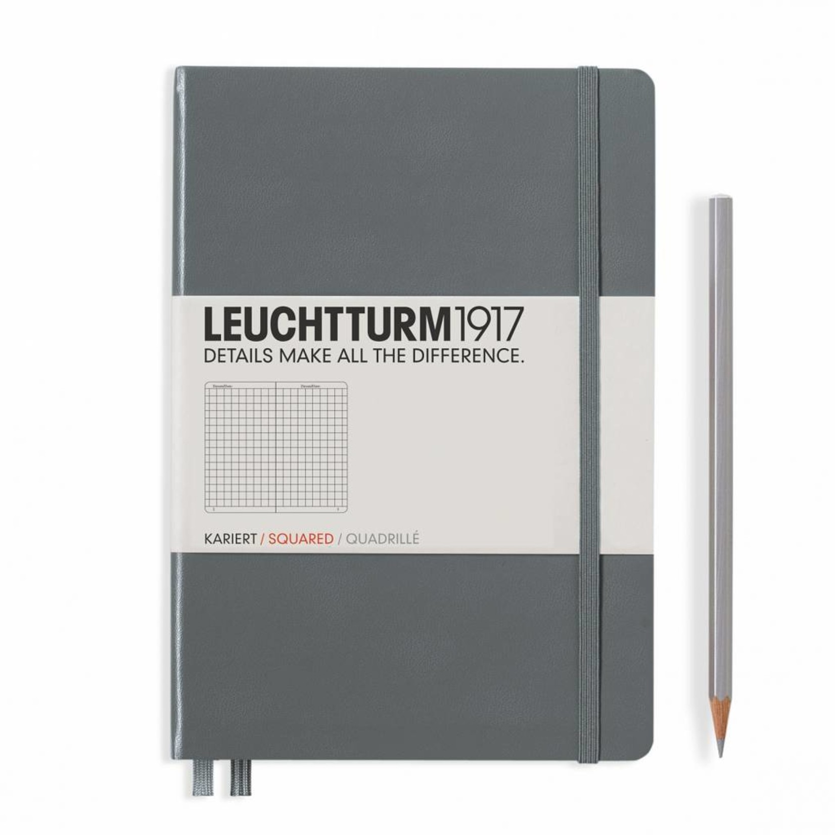 Leuchtturm1917 Leuchtturm1917 Notizbuch, Medium, Anthrazit, Kariert