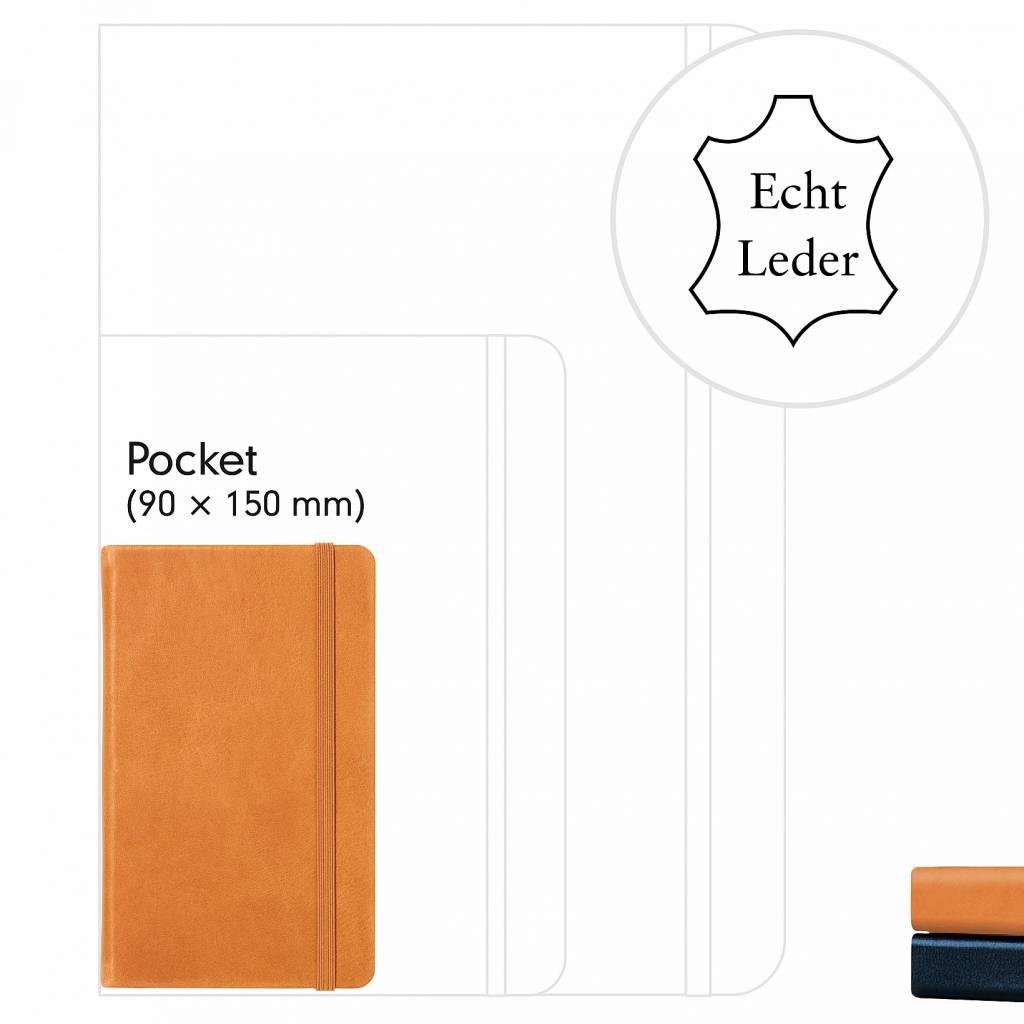 Leuchtturm1917 Leuchtturm1917 Notizbuch Ledergebunden, Pocket, Schwarz, Kariert