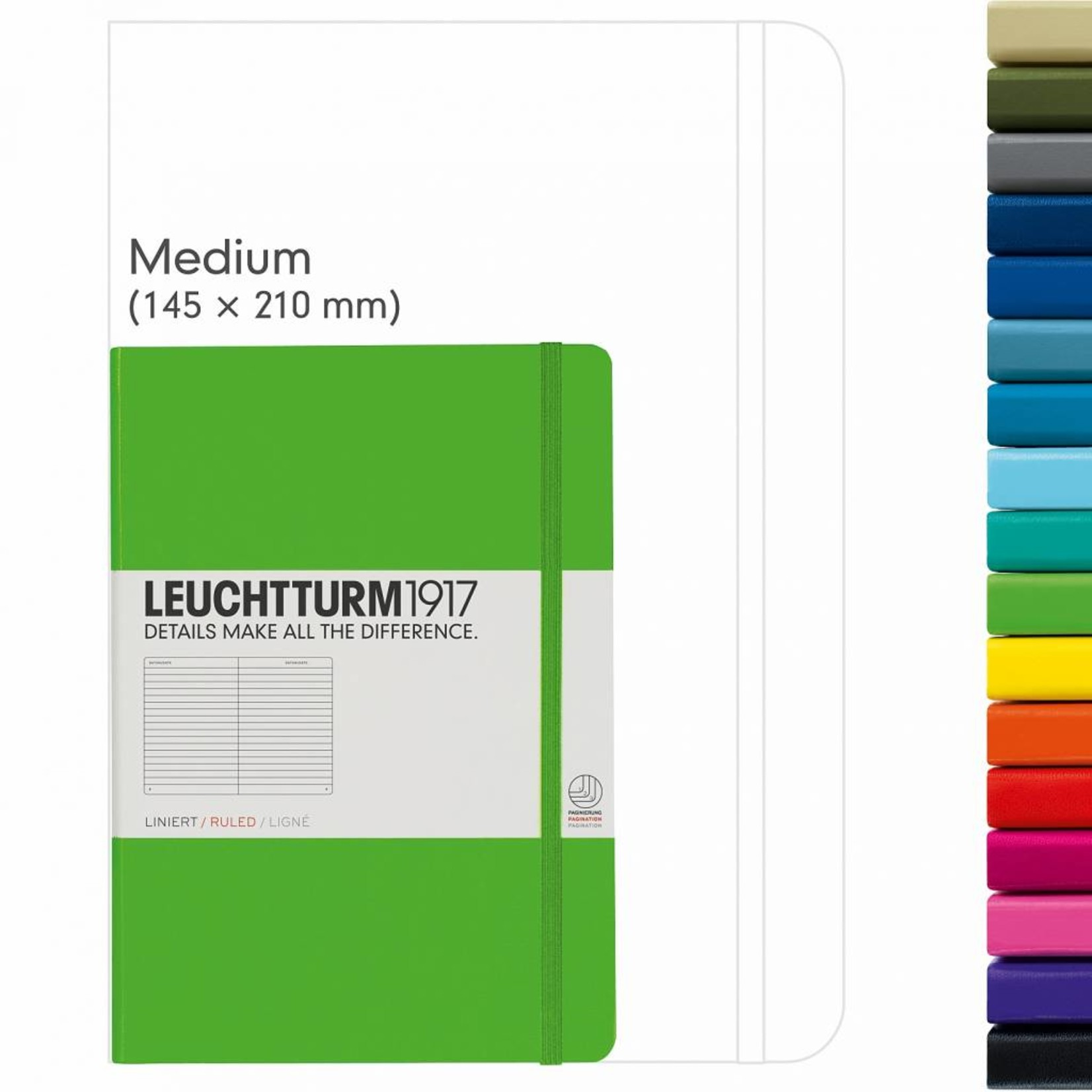 Leuchtturm1917 Leuchtturm1917 Notizbuch, Medium, Zitrone, Kariert