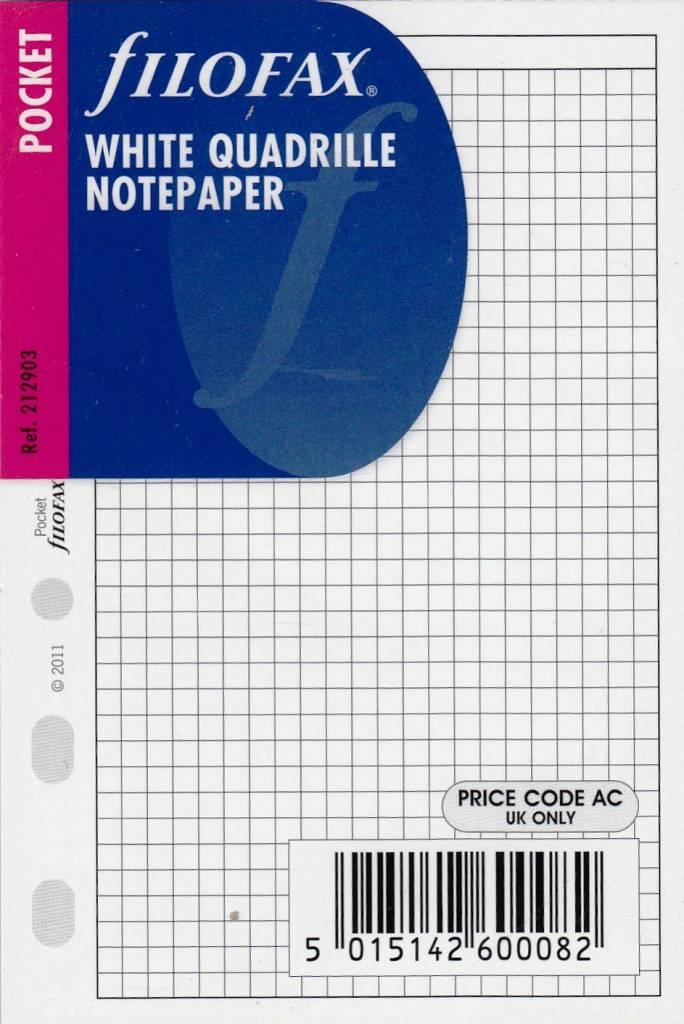 Filofax Filofax Einlage Pocket, Papier kariert 3 mm, weiß