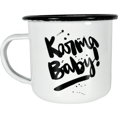 Emaille Tasse Karma Baby