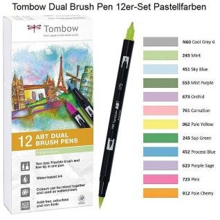 Geotec DUAL BRUSH PEN 12-er Set Pastellfarben