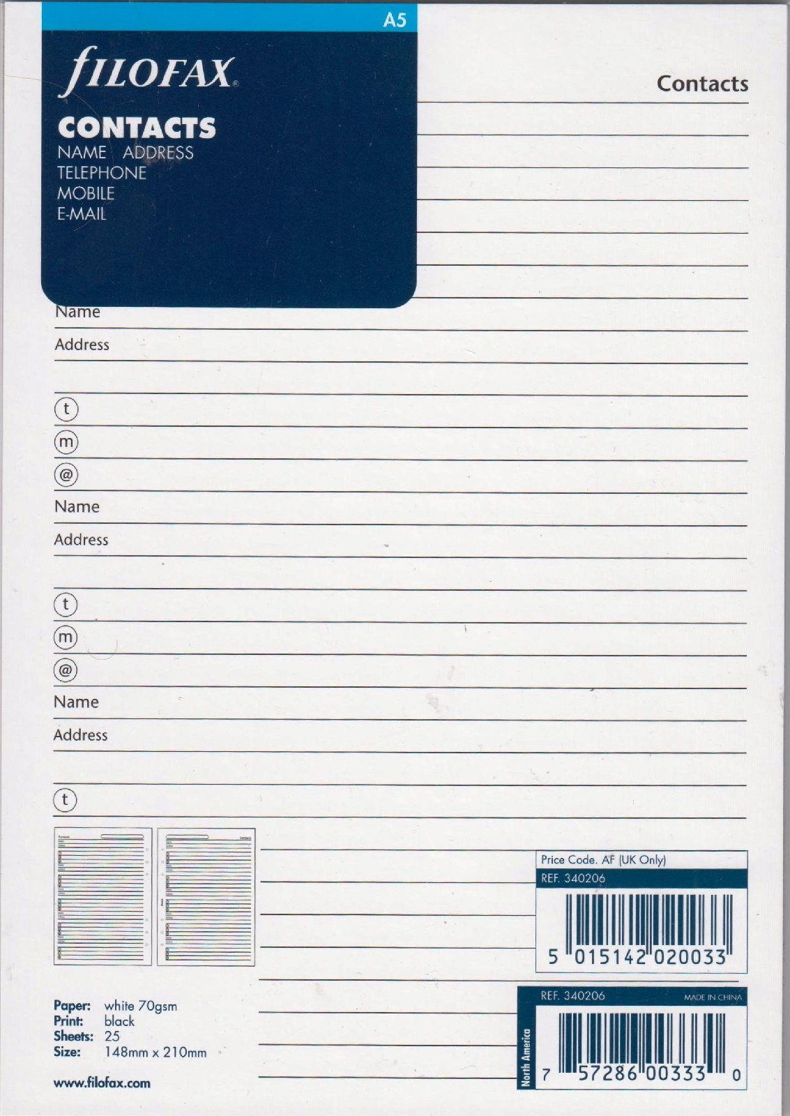 Filofax Deutschland A5 CONTACTS Name,Adress,Teleph Name/Adr/Tel/Mobil/Email