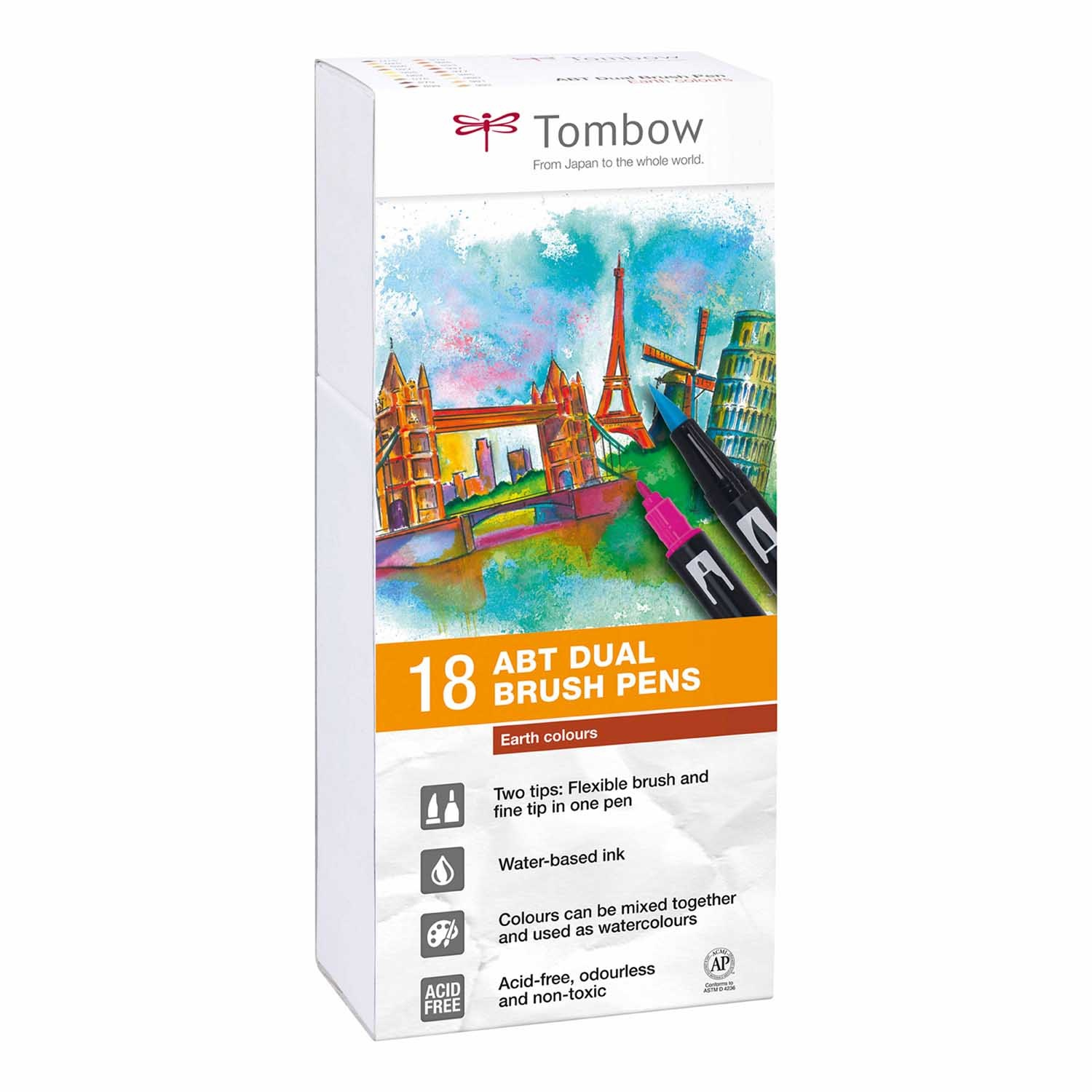 Tombow Dual Brush Pen 18er Set Erdfarben