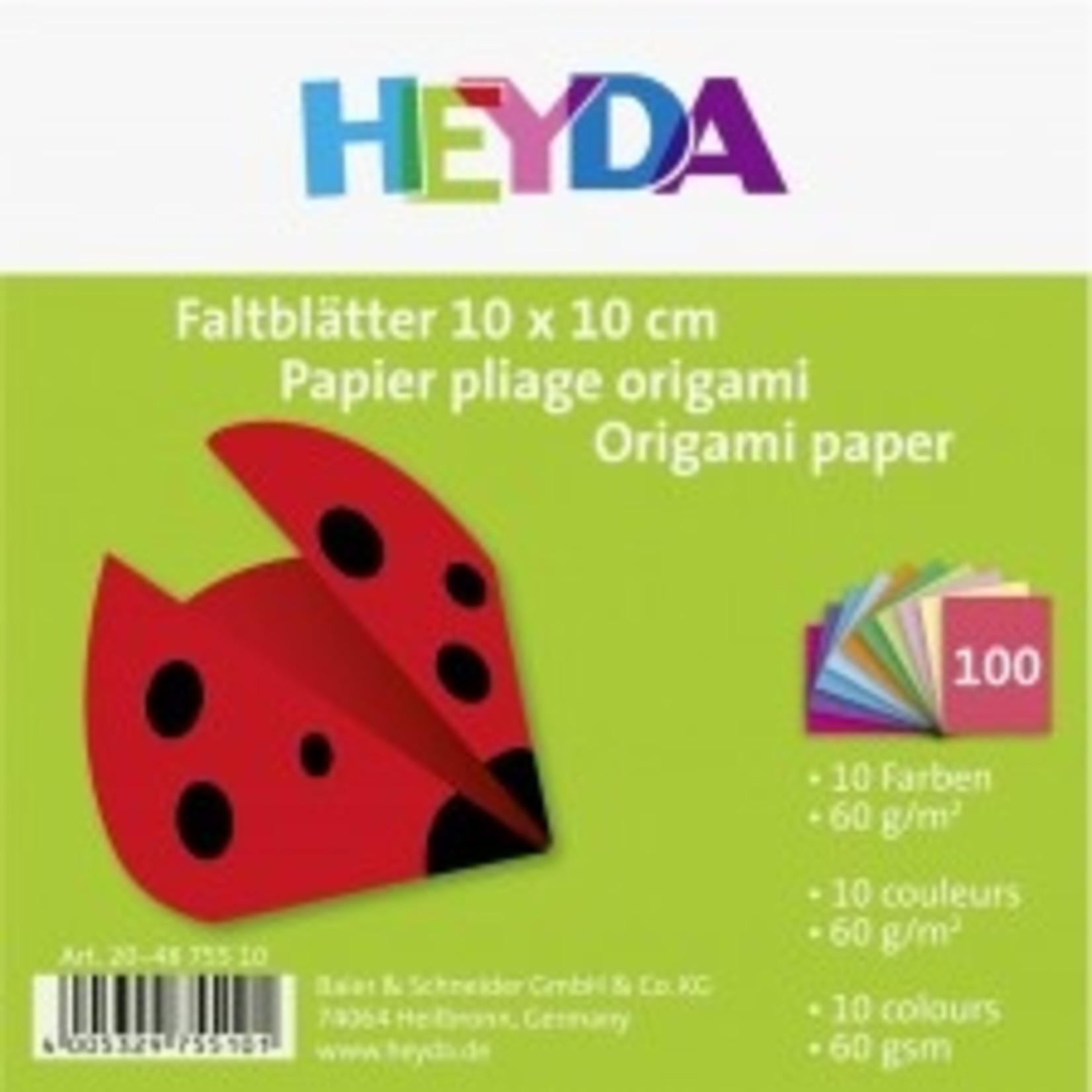 HEYDA Faltblatt 10x10cm 60g 100Bl sortiert