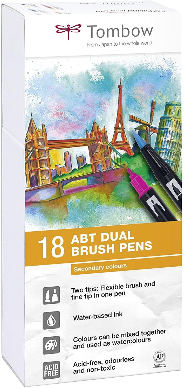 Tombow Dual Brush Pen 18er Set Sekundärfarben