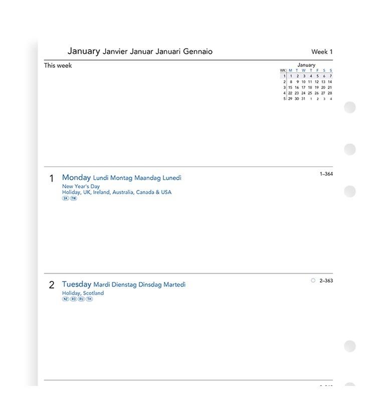 Filofax Deutschland A5 1W/2S 4x4 Spalten multilingual 2020