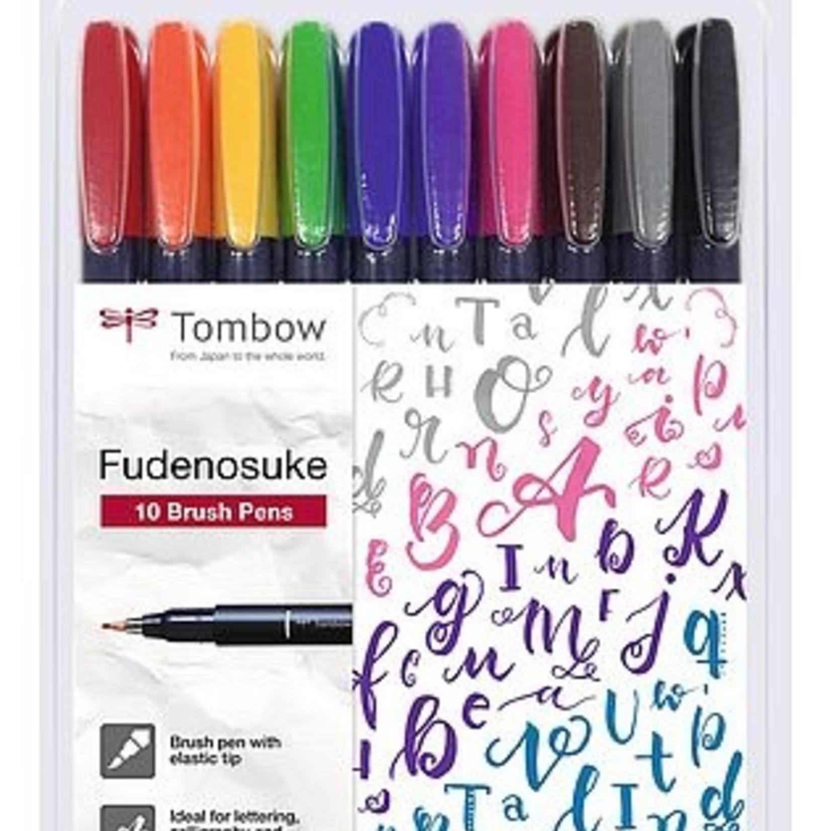 Tombow Fudenosuke Pen  harte Spitze, Etui 10 Farben