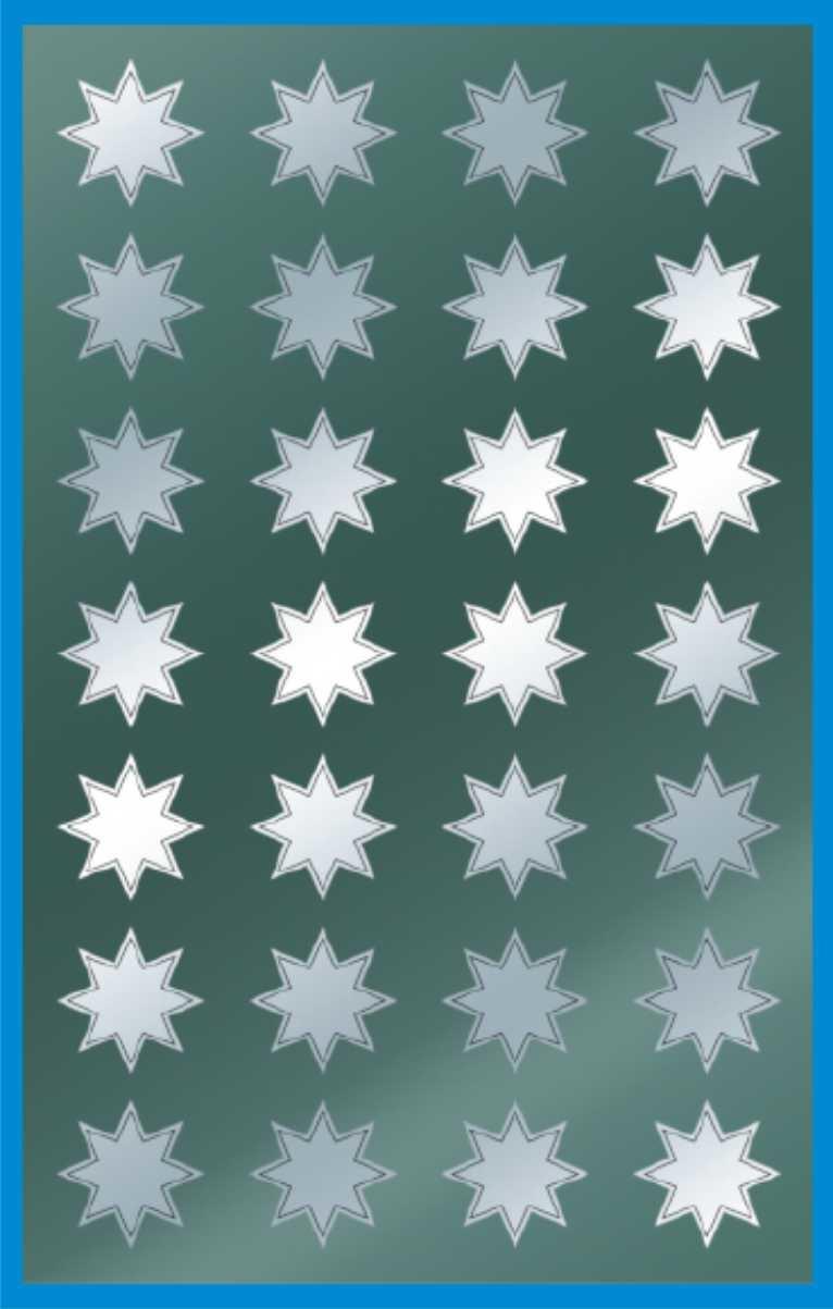 Weihnachtssterne - Sticker silber