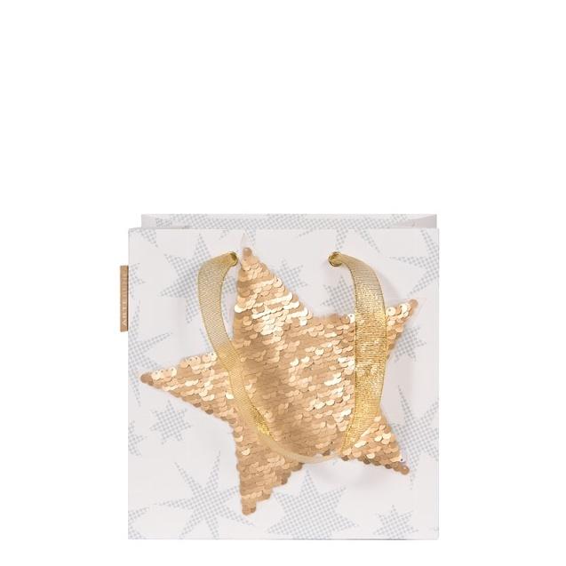 Artebene  Tasche/20x20x11cm/Pailletten/Stern/weiß/ Tasche/20x20x11cm/Pailletten/Stern/weiß/ Tasche/20x20x11cm/Pailletten/Stern/weiß/ gold