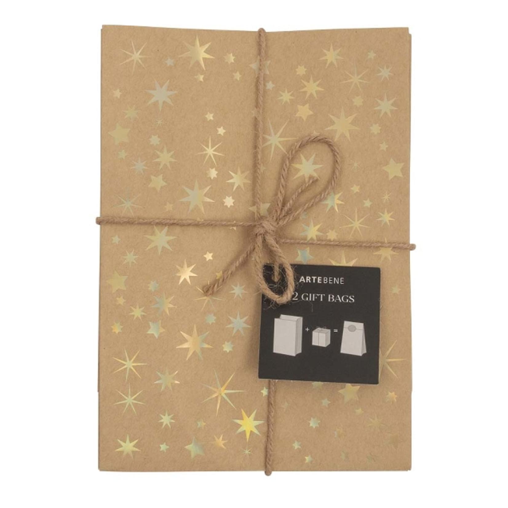 Geschenktaschen  16x23x8cm/ Kraft/Sterne/gold- 12 Stück