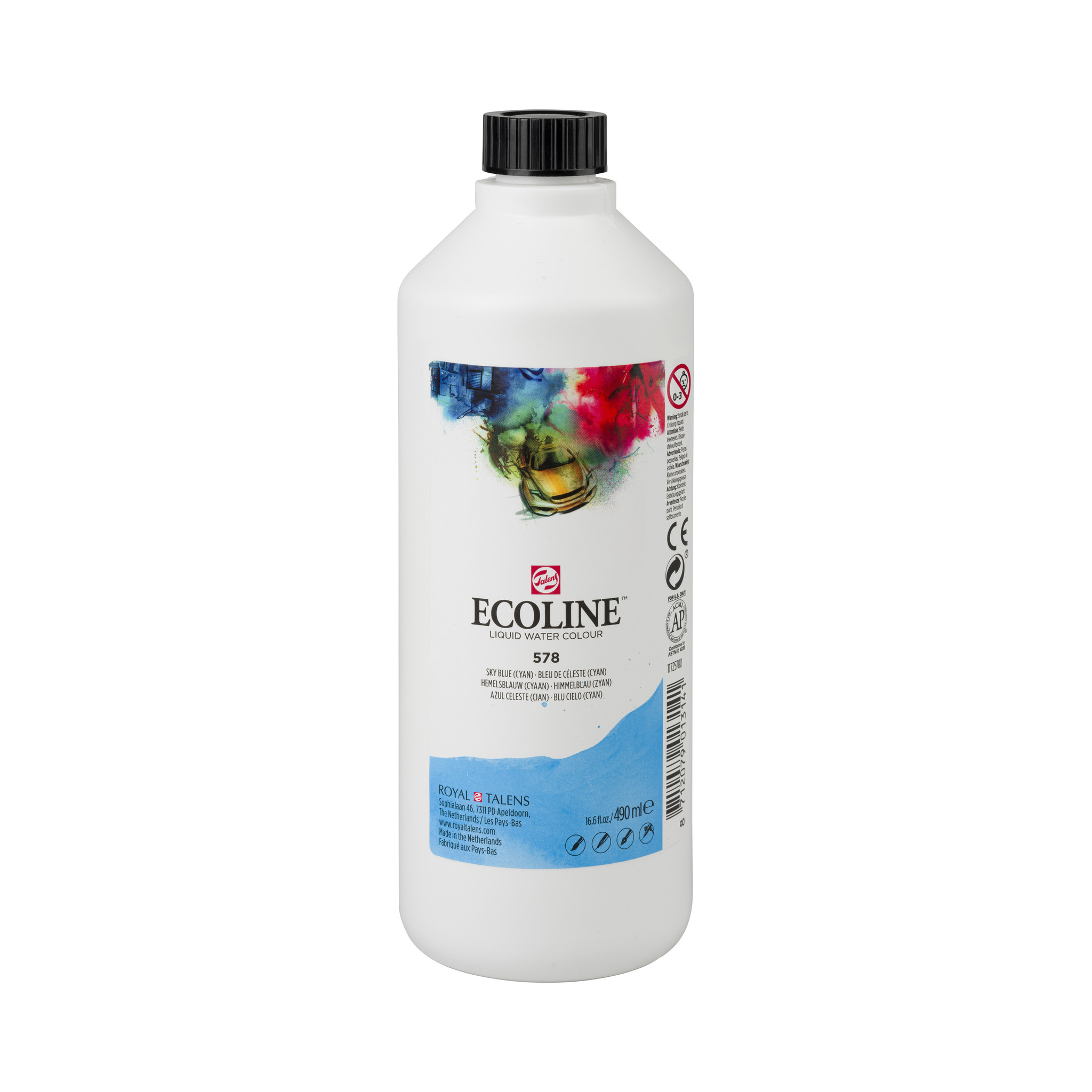 Ecoline Ecoline Flüssige Wasserfarbe 490 ml Himmelblau (Zyan)