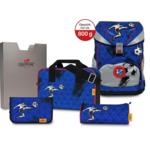 DER DIE DAS Ergoflex Superflash Schultaschenset   5-teilig   Silver Soccer
