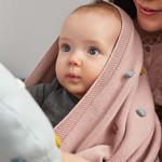Lässig Fashion Baby-Strickdecke | dunkelrosa | 100 % Baumwolle