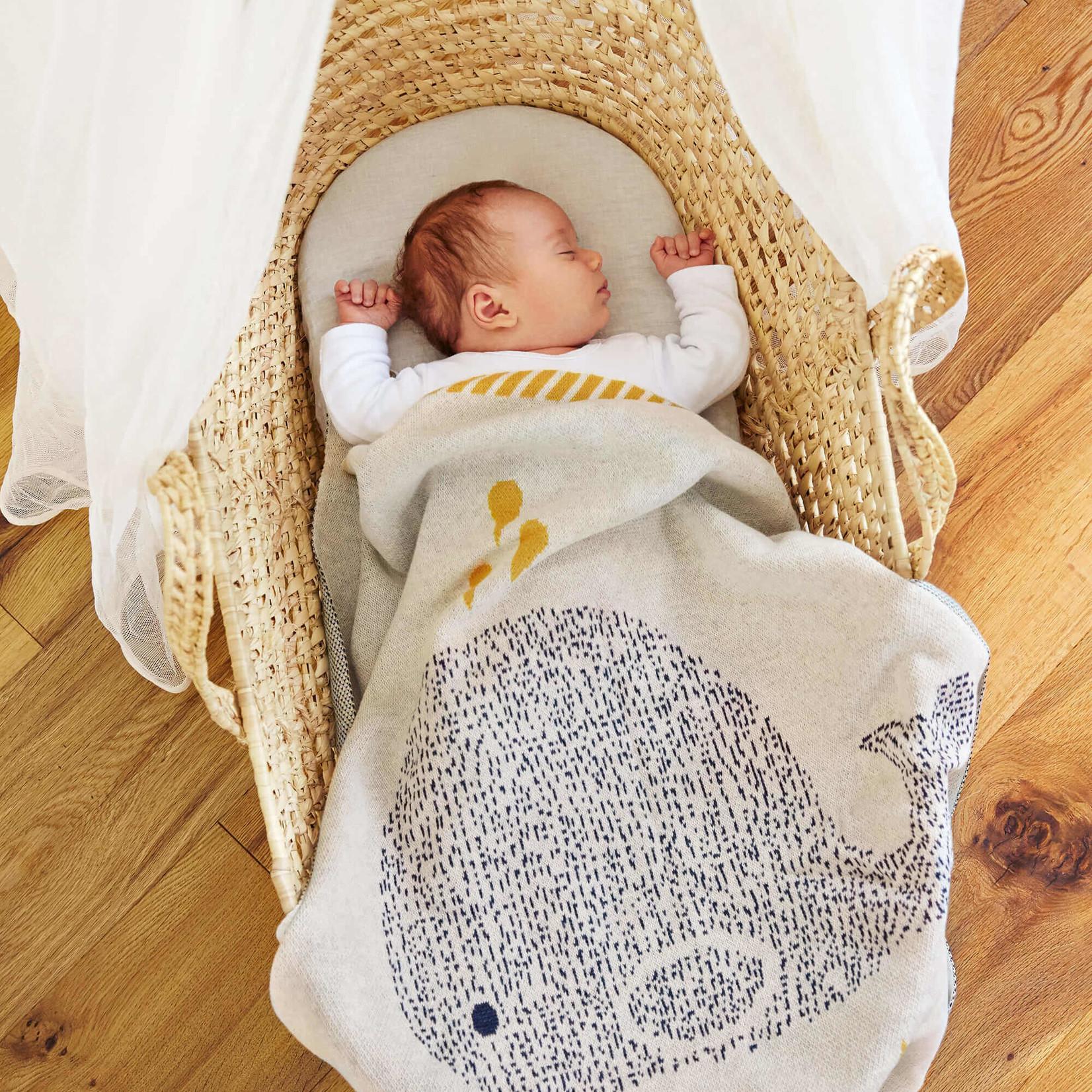 Lässig Fashion Süße gestrickte Baby-Decke | 100 % Baumwolle | Wal-Motiv
