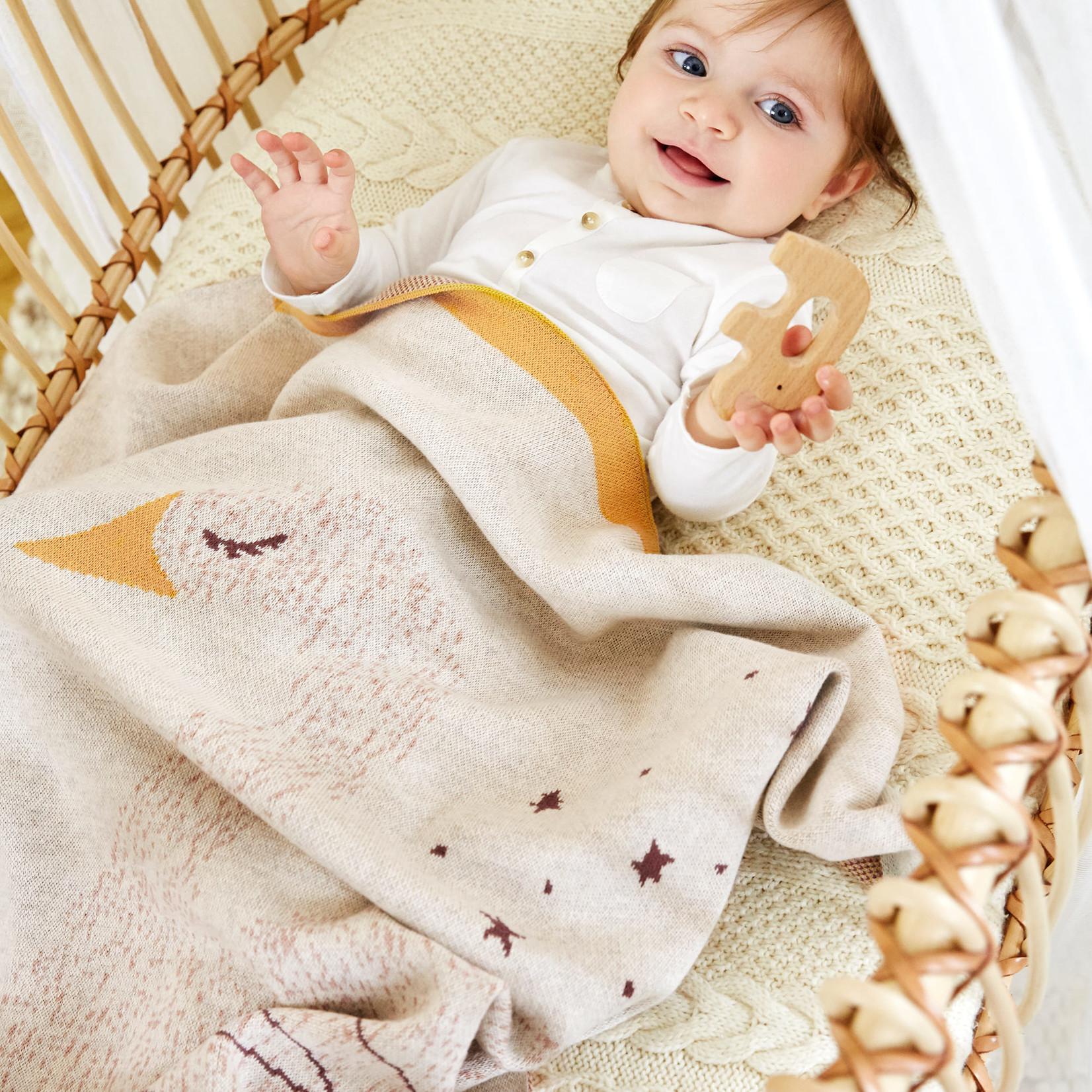 Lässig Fashion Süße gestrickte Baby-Decke | 100 % Baumwolle | Schwan-Motiv