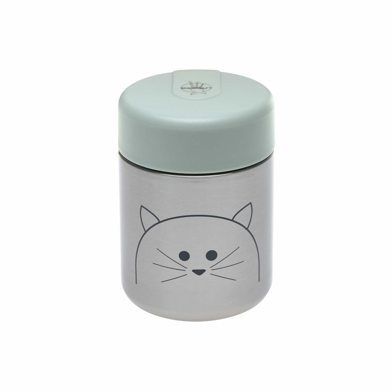 Lässig Fashion Essensglas aus Edelstahl für Babynahrung | Süße Katze